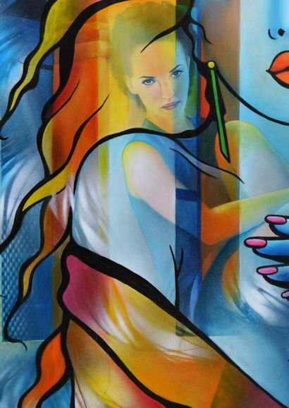 """GUICHARD-BUNEL Jeannette """"Whether you live here or there..."""" 92x65 cm (30.Paysage)..."""