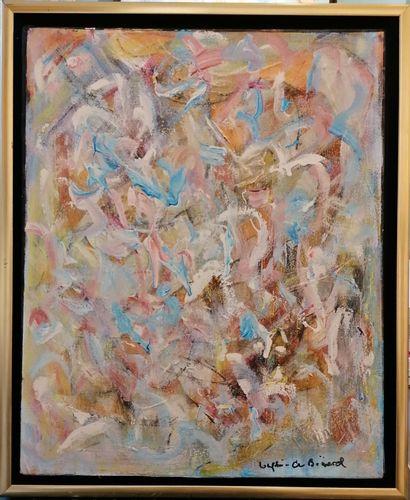 """LONGHI-DE BOÜARD Rosie """"Tourbillon"""" Acrylique sur toile  41 x 33 cm de 2012 signée...."""