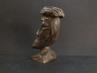 """MAUZAT Marc """"Eclin"""" Sculpture in patinated bronze H : 23 cm L : 12 cm W : 16 cm Width..."""