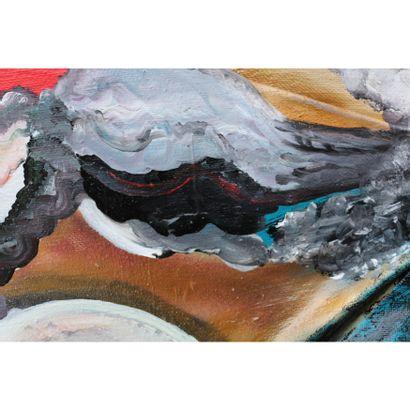 """KARLY ET ANNE V """"Yellowstone"""" Acrylique sur toile 100 x 100 x 15 cm signée au dos...."""
