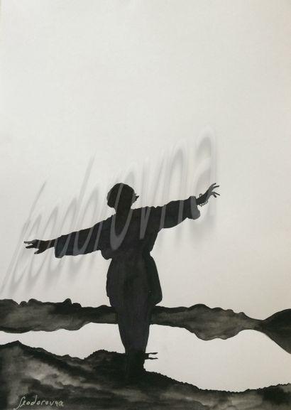 """FEODOROVNA """"Shadow Patterns"""" Encre sur papier très épais 29,5 x 42 cm signée.    Frais..."""