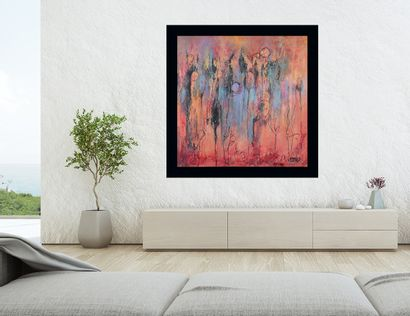 """OLIVERIO Emilia """"Love fields"""" Collection """"Passione"""" Oil on canvas 100 x 100 cm signed..."""