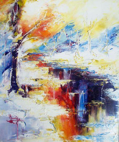 "EDWIGE ""The Awakening of Nature"" Oil on Knife 55 x 46 cm signed.    Free shipping..."