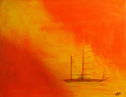 """ANN-DO """"Sunset"""" Acrylic and Oil on canvas 40 x 50 cm signed.    Free shipping to..."""