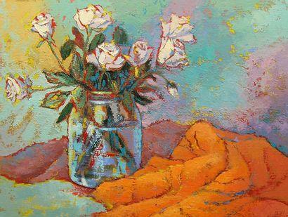 """BERTAUDIERE Nita """"Bouquet de roses"""" Huile sur carton 61 x 46 cm signée.    Frais..."""