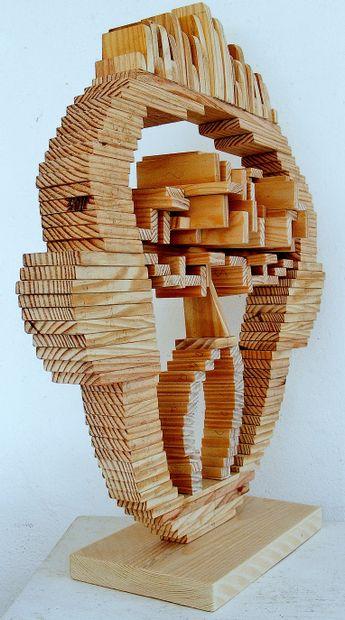 """WISE Sibille """"Visage"""" Sculpture en bois 52 x 45 cm signée.    Frais de transport..."""