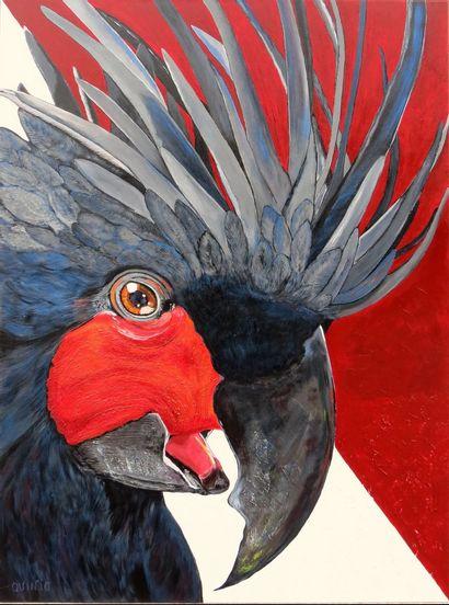 "QUINIO Christine ""Coco Drumming Bird"" Acrylic and paste texture on canvas 130 x 97..."