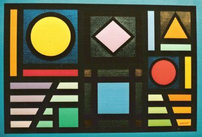 """HANIZET Raymond """"Variations (1658)"""" Acrylique et Métaux sur toile 73 x 54 cm signée...."""