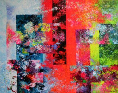 """DARDEAU Monique """"Effluves"""" Acrylique sur toile 73 x 92 cm signée.    Frais de transport..."""