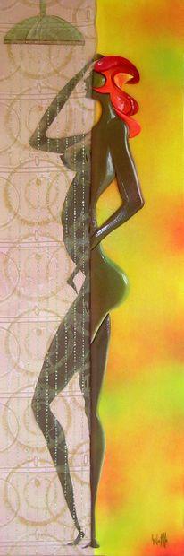 """CASTILLE Georges (1931) """"Lily"""" Acrylique sur Bois Sculpté en Relief se compose de..."""