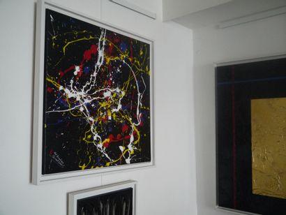 """SERVANT ERMES """"Particules quantiques"""" Acrylique toile signée 60 x 60 cm fond antagoniste..."""