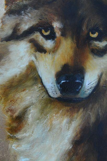 """BREMBOR Georges """"Le chien loup"""" Huile au couteau et pinceau sur toile fond travail..."""