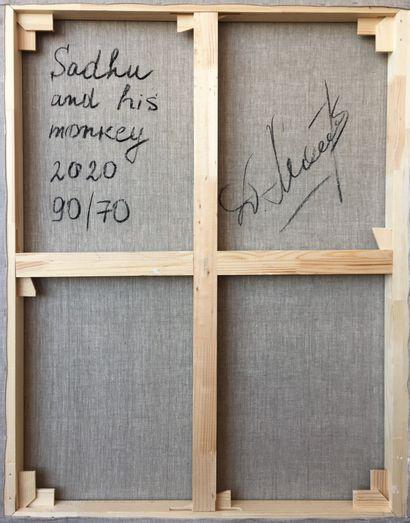 """MALIVANI Diana """"Sadhu et son singe"""" Huile sur toile 90 x 70 cm signée en bas à gauche...."""