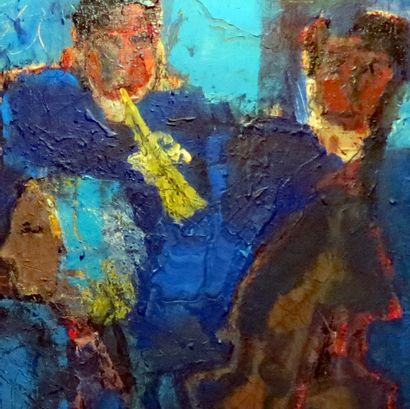"""DONNEAUD Jacques """"Jazz Blue"""" Acrylic on canvas  100 x 100 cm signed at the bottom..."""
