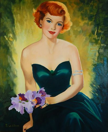 """CLEVE Evelyne """"Caroline"""" Oil on canvas 61 x 50 cm signed.    Free shipping to the..."""