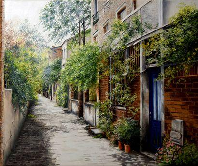 "HOUMEAU - GLOWICKI Marie-Claire ""Passage to Belleville"" Oil on canvas 46 x 55 cm..."