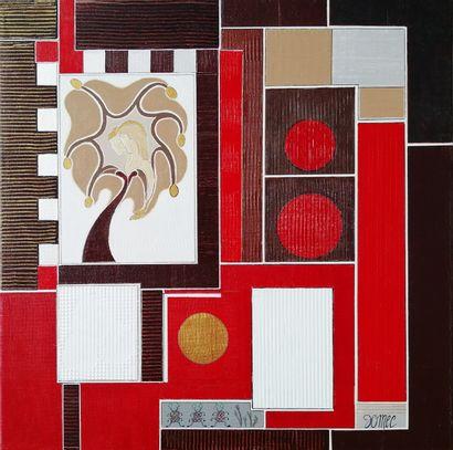 """DOMEC Annie """"Labyrinthe"""" Acrylique sur toile  60 x 60 cm signée.    Frais de transport..."""