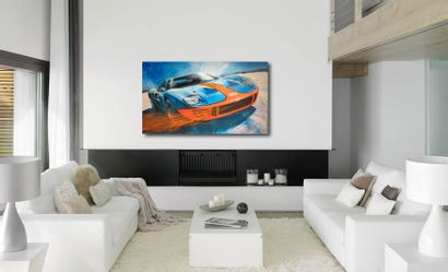 """DELAGACHETTE """"Ford GT 40"""" Acrylic painting on canvas 140 x 80 cm signed on the back..."""