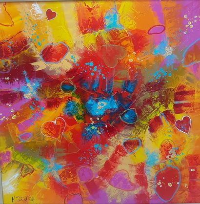 """GUENAIZIA Myriam """"Atout coeur"""" Oil with knife and brush on canvas 80 x 80 cm signed...."""