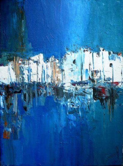 """DONNEAUD Jacques """"Cyclade, entre ciel et mer""""  Techniques mixtes sur toile peinture..."""