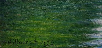 """HILLAIRET Anatole Eugène (1880-1928) """"Auvers-sur-Oise"""" Huile sur toile 46 x 55 cm..."""