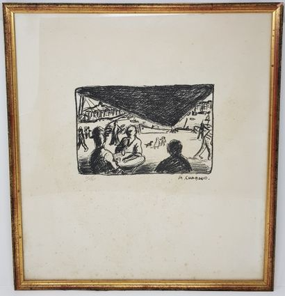 """CHABAUD Auguste (1882-1955) """"Lithograph 53 x 48 cm drawing 16,5 x 24,5 cm signed..."""