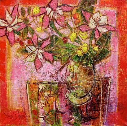 """AIMÉ VENEL """"Bouquet d'été"""" Huile sur toile 50 x 50 cm signée.    Frais de transport..."""