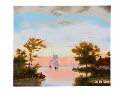 """DELPUCH André """"Le Voilier"""" Huile sur toile technique alla prima 55 x 46 cm signée...."""