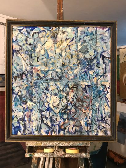 """LABOR Robert """"Cells"""" Oil on canvas 87 x 80 cm signed.    Free shipping to metropolitan..."""