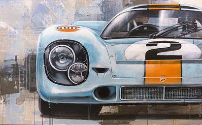 "DELAGACHETTE ""Porsche 917 K"" Acrylic painting on canvas 142 x 90 cm signed on the..."