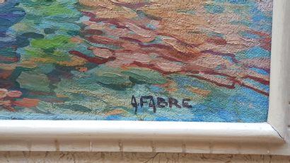 """FABRE Auguste Victor (1882-1939) """"Saint-Tropez La Ponche"""" Huile sur panneau 46 x..."""