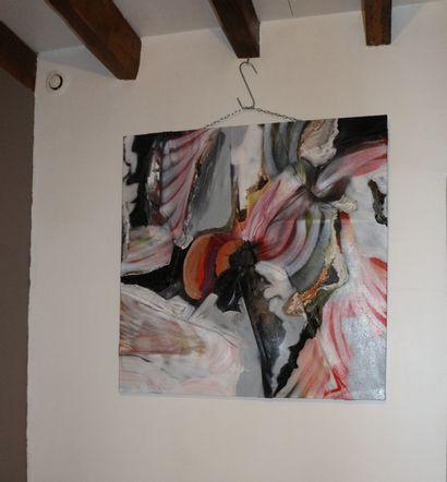 "KARLY ET ANNE V ""Zoom on a solar plexus"" Acrylic on canvas 115 x 115 x 10 cm signed..."