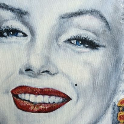"""MARTINETTO Laure """"Marilyn Monroe"""" Acrylic and copper petals on canvas 40 x 40 cm..."""