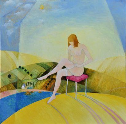 """BLIN Yves """"Pandora"""" Huile sur toile 60 x 60 cm signée.    Frais de transport offerts..."""