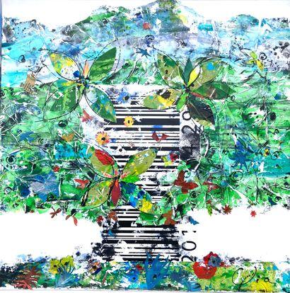 """VOUGNY VIA Isabelle """"Ubu roi des arbres"""" Acrylique au couteau pochoir lavis et collages..."""