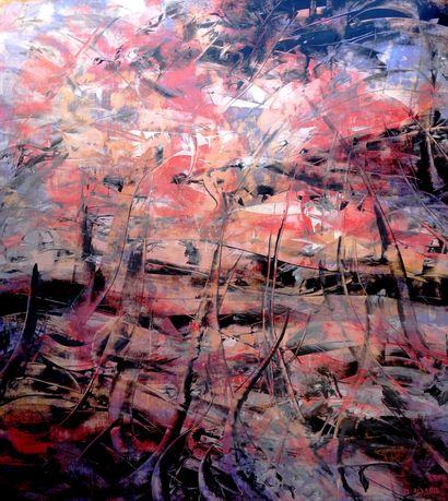 """ALLARD Michel """"Apocalypse"""" Acrylique cires médiums sur papier marouflé sur toile..."""