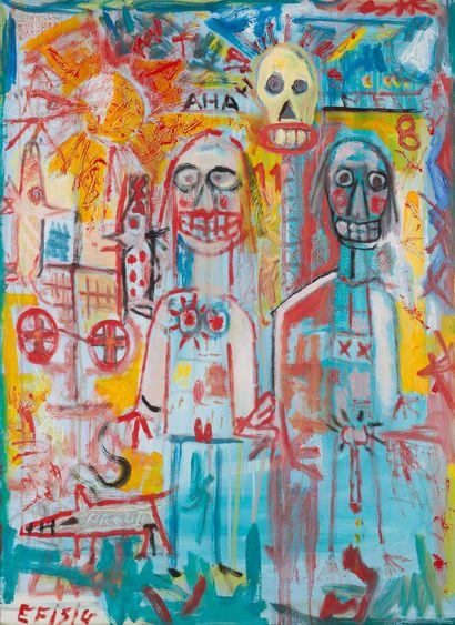"""AZNAR Efisio """"Bécassine"""" Huile sur toile 72 x 100 cm signée.    Frais de transports..."""