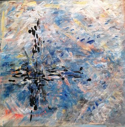 """LONGHI-DE BOÜARD Rosie """"Symphonie Céleste"""" Huile sur toile  80 x 80 cm signée.  ..."""