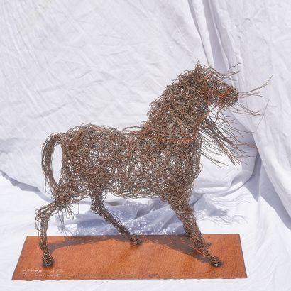 """LAURENT.2LL LAURENT Isabelle """"Jonas"""" Sculpture réalisée en fil de fer signée pièce..."""