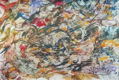"""JENO """"Ode à l'Art"""" Technique mixte cire et peinture 21 x 29,7cm encadrée 30 x 40..."""