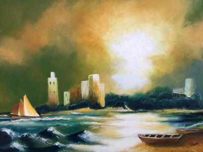 """BREMBOR Georges """"Paradis perdu"""" Huile au couteau et pinceau sur toile. 60 x 80 cm..."""