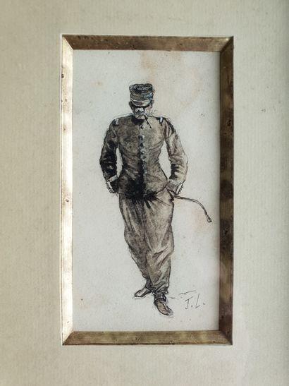 LEFEBVRE Jules Joseph (1836-1911) Lavis et encre 10 x 5,5 cm monogrammé.    Monogrammed...