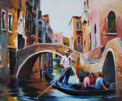 """JEQUEL Christian """"Venise"""" Huile sur toile au couteau technique Jequel 65 x 54 cm..."""