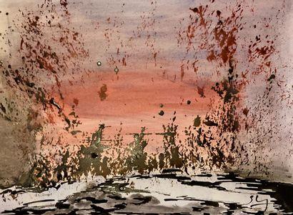 """LAPAQUETTE Sylvie """"Les naturelles 2"""" Composition à l'encre sur papier 30 x 40 cm..."""
