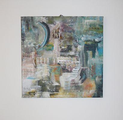 """KARLY ET ANNE V """"Configuration n°1"""" Acrylique sur toile 80 x 80 x 4 cm signée au..."""