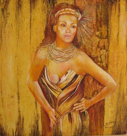 """LEDOUX Gisele """"Ultime matière"""" Huile et feuille d'or sur toile 50 x 52 cm signée...."""