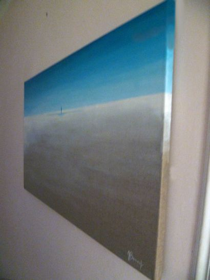 """BONNET Myriam """"Quo vadis"""" Huile sur toile 100 x 60 cm signée en bas à droite.    Frais..."""