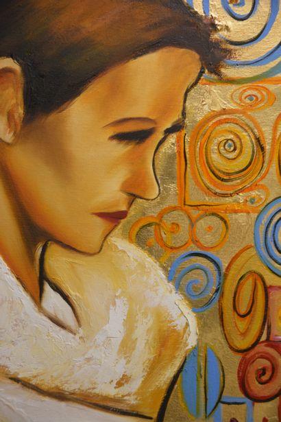 """BREMBOR Georges """"Profil de femme"""" Huile sur toile au pinceau et couteau sur feuille..."""