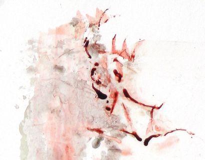 """BRES Monick (née en 1946) """"Transparence"""" Encres de couleur et médium satiné sur papier..."""