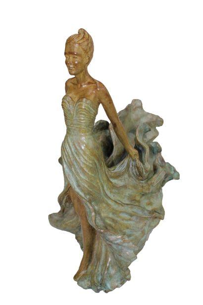 """CANTIN Josiane """"Légèreté"""" Sculpture Bronze H : 45 cm L : 36 cm largeur : 22 cm Fondeur..."""
